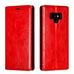Retro Slim Magnetic Crazy Horse PU Leather Wallet Case for Samsung Galaxy Note9 - Red