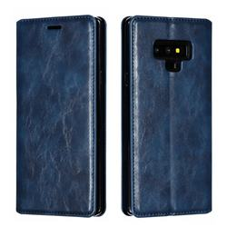 Retro Slim Magnetic Crazy Horse PU Leather Wallet Case for Samsung Galaxy Note9 - Blue