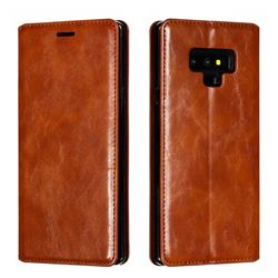 Retro Slim Magnetic Crazy Horse PU Leather Wallet Case for Samsung Galaxy Note9 - Brown