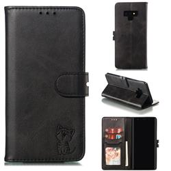 Embossing Happy Cat Leather Wallet Case for Samsung Galaxy Note9 - Black