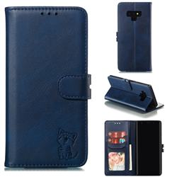 Embossing Happy Cat Leather Wallet Case for Samsung Galaxy Note9 - Blue