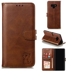 Embossing Happy Cat Leather Wallet Case for Samsung Galaxy Note9 - Brown