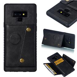 Retro Multifunction Card Slots Stand Leather Coated Phone Back Cover for Samsung Galaxy Note9 - Black