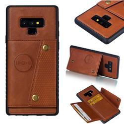 Retro Multifunction Card Slots Stand Leather Coated Phone Back Cover for Samsung Galaxy Note9 - Brown