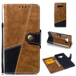 Retro Magnetic Stitching Wallet Flip Cover for Samsung Galaxy Note9 - Brown
