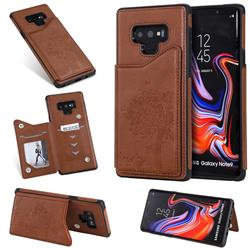 Luxury Tree and Cat Multifunction Magnetic Card Slots Stand Leather Phone Back Cover for Samsung Galaxy Note9 - Brown