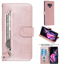 Retro Luxury Zipper Leather Phone Wallet Case for Samsung Galaxy Note9 - Pink