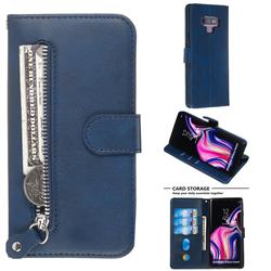 Retro Luxury Zipper Leather Phone Wallet Case for Samsung Galaxy Note9 - Blue