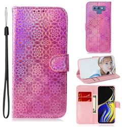 Laser Circle Shining Leather Wallet Phone Case for Samsung Galaxy Note9 - Pink