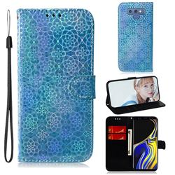 Laser Circle Shining Leather Wallet Phone Case for Samsung Galaxy Note9 - Blue