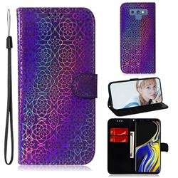 Laser Circle Shining Leather Wallet Phone Case for Samsung Galaxy Note9 - Purple