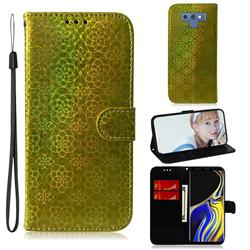 Laser Circle Shining Leather Wallet Phone Case for Samsung Galaxy Note9 - Golden