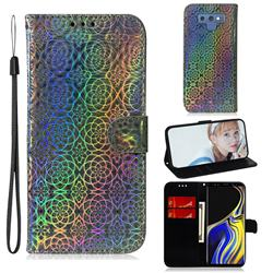 Laser Circle Shining Leather Wallet Phone Case for Samsung Galaxy Note9 - Silver