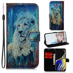 White Lion Laser Shining Leather Wallet Phone Case for Samsung Galaxy Note9