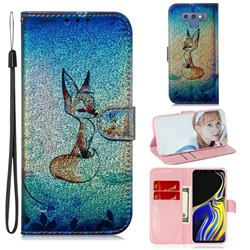 Cute Fox Laser Shining Leather Wallet Phone Case for Samsung Galaxy Note9