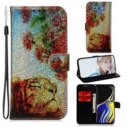 Tiger Rose Laser Shining Leather Wallet Phone Case for Samsung Galaxy Note9