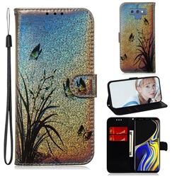 Butterfly Orchid Laser Shining Leather Wallet Phone Case for Samsung Galaxy Note9