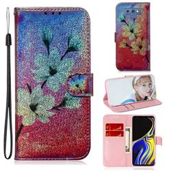 Magnolia Laser Shining Leather Wallet Phone Case for Samsung Galaxy Note9