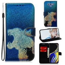 Cat and Leopard Laser Shining Leather Wallet Phone Case for Samsung Galaxy Note9