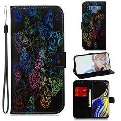 Black Butterfly Laser Shining Leather Wallet Phone Case for Samsung Galaxy Note9