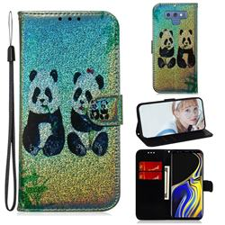 Two Pandas Laser Shining Leather Wallet Phone Case for Samsung Galaxy Note9