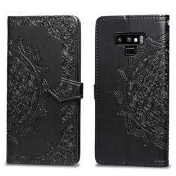 Embossing Imprint Mandala Flower Leather Wallet Case for Samsung Galaxy Note9 - Black