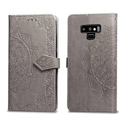 Embossing Imprint Mandala Flower Leather Wallet Case for Samsung Galaxy Note9 - Gray