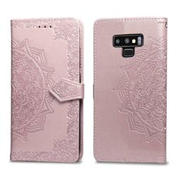 Embossing Imprint Mandala Flower Leather Wallet Case for Samsung Galaxy Note9 - Rose Gold