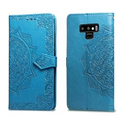 Embossing Imprint Mandala Flower Leather Wallet Case for Samsung Galaxy Note9 - Blue