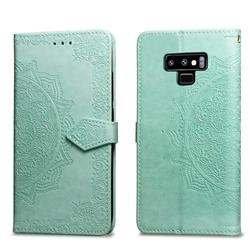 Embossing Imprint Mandala Flower Leather Wallet Case for Samsung Galaxy Note9 - Green