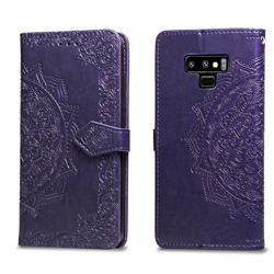 Embossing Imprint Mandala Flower Leather Wallet Case for Samsung Galaxy Note9 - Purple