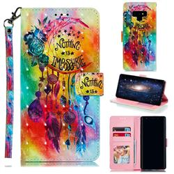 Flower Wind Chimes 3D Painted Leather Phone Wallet Case for Samsung Galaxy Note9