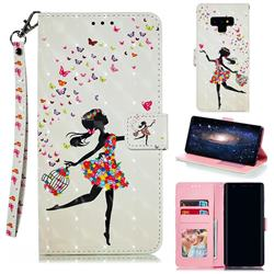 Flower Girl 3D Painted Leather Phone Wallet Case for Samsung Galaxy Note9