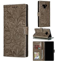 Intricate Embossing Lace Jasmine Flower Leather Wallet Case for Samsung Galaxy Note9 - Gray