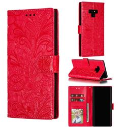 Intricate Embossing Lace Jasmine Flower Leather Wallet Case for Samsung Galaxy Note9 - Red