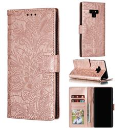 Intricate Embossing Lace Jasmine Flower Leather Wallet Case for Samsung Galaxy Note9 - Rose Gold