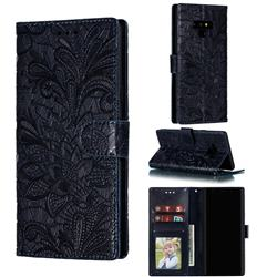 Intricate Embossing Lace Jasmine Flower Leather Wallet Case for Samsung Galaxy Note9 - Dark Blue