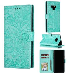Intricate Embossing Lace Jasmine Flower Leather Wallet Case for Samsung Galaxy Note9 - Green