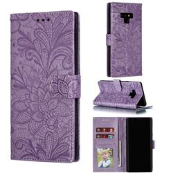 Intricate Embossing Lace Jasmine Flower Leather Wallet Case for Samsung Galaxy Note9 - Purple