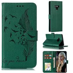 Intricate Embossing Lychee Feather Bird Leather Wallet Case for Samsung Galaxy Note9 - Green