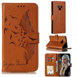 Intricate Embossing Lychee Feather Bird Leather Wallet Case for Samsung Galaxy Note9 - Brown