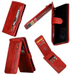 Multifunction 9 Cards Leather Zipper Wallet Phone Case for Samsung Galaxy Note9 - Red