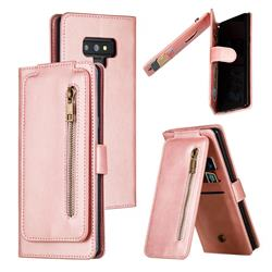 Multifunction 9 Cards Leather Zipper Wallet Phone Case for Samsung Galaxy Note9 - Rose Gold