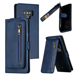 Multifunction 9 Cards Leather Zipper Wallet Phone Case for Samsung Galaxy Note9 - Blue