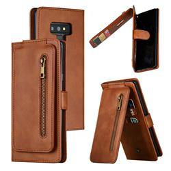 Multifunction 9 Cards Leather Zipper Wallet Phone Case for Samsung Galaxy Note9 - Brown