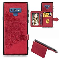 Mandala Flower Cloth Multifunction Stand Card Leather Phone Case for Samsung Galaxy Note9 - Red