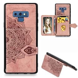 Mandala Flower Cloth Multifunction Stand Card Leather Phone Case for Samsung Galaxy Note9 - Rose Gold