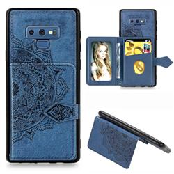 Mandala Flower Cloth Multifunction Stand Card Leather Phone Case for Samsung Galaxy Note9 - Blue