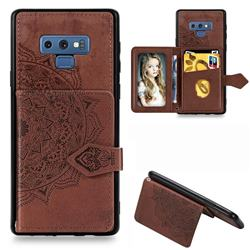 Mandala Flower Cloth Multifunction Stand Card Leather Phone Case for Samsung Galaxy Note9 - Brown