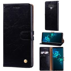 Luxury Retro Oil Wax PU Leather Wallet Phone Case for Samsung Galaxy Note9 - Deep Black